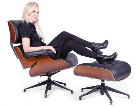 Eames Lounge Chair Amp Ottoman Black Leather Replica